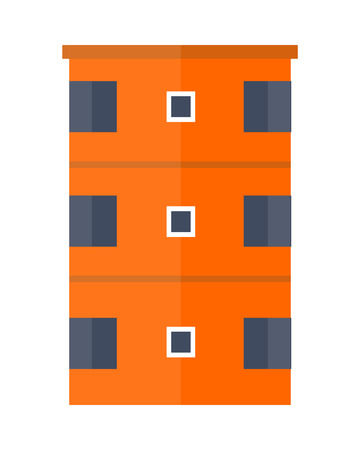 multistory: Orange modern apartment building. Architecture apartment icon, building residential, business multistory building, office building. Isolated object on white background. Vector illustration. Illustration