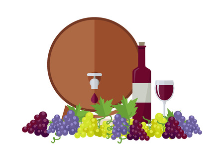 viniculture: Wooden barrel with wine. Different sorts of grapes. Bottle and glass of check elite vintage strong wine. Bunches or clusters of grapes. Part of series of viniculture production items. Vector