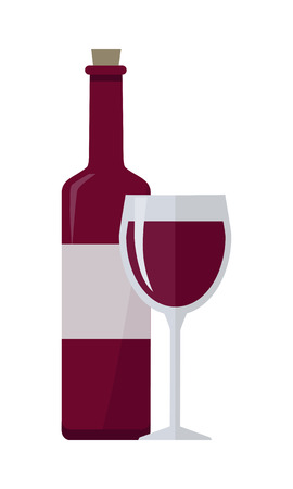 viniculture: Bottle of red wine and glass isolated on white. Check elite vintage strong wine. Winemaking concept. Vine icon or symbol. Part of series of viniculture production and preparation items. Vector
