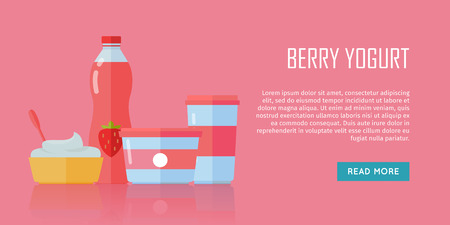 kefir: Berry yogurt . Milk production. Yogurt with berries and blueberries. Different dairy products from milk on red background. Assortment of dairy products. Farm food. Dairy website template.