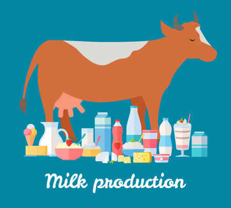 assortment: Traditional dairy products from cow s milk. Different dairy products near brown cow on blue background. Natural farm food concept. Assortment of dairy products. illustration in flat style. Illustration