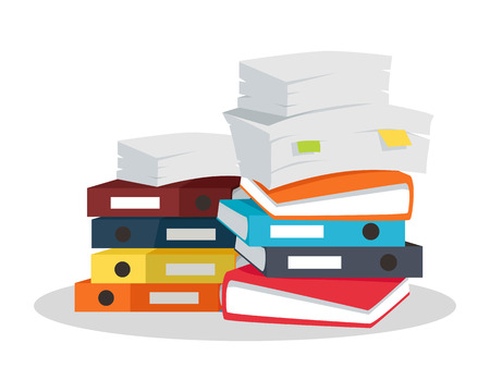 Stack of papers. Large number of business documents with bookmarks. Colorful binders.Paper work, office routine, bureaucracy concept. Flat design. Illustration for data, e-mail, management, services. Stock Illustratie