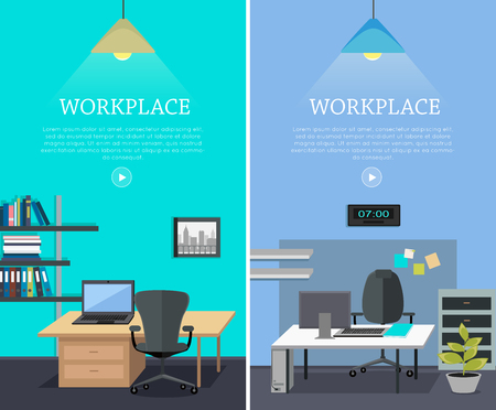 ceiling light: Set of workplace horizontal web banners in flat style. Bright office interior with desk, computer, armchair, ceiling light, shelves with documents. Design of comfortable, modern place for work Illustration