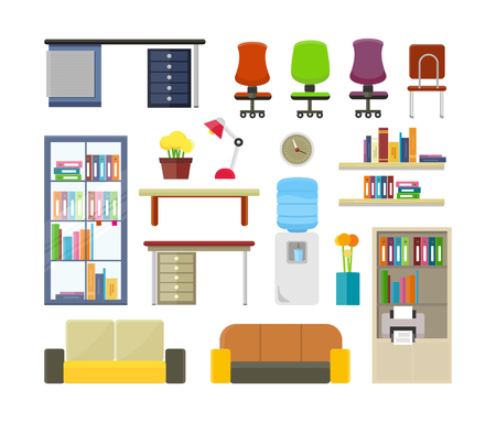 Set of modern office furniture illustrations. Elements of business interior. Table, chair, sofa, shelves, boiler, rack, flowers, clock, lamp in flat style. For design concepts icons infographics Illustration