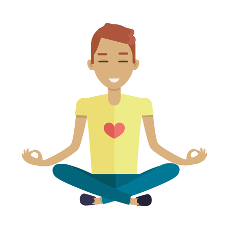 man meditating: Young man in yellow shirt and blue pants making meditation in lotus pose. Zen man in yoga pose. Meditating man. Isolated object in flat design on white background.