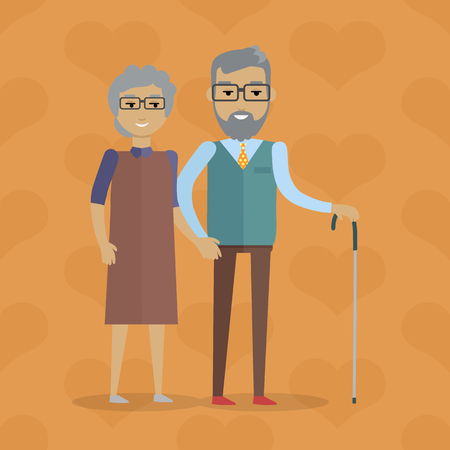 lasting: Elderly couple  illustration. Flat design. Gray-haired smiling grandparents walking holding hands. Strong and lasting relationships. Deep human affection. For happy retirement concept. On orange Illustration