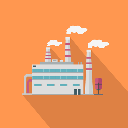 Factory with long shadow in flat style. Industrial factory building concept. Manufacturing plant building. Power electricity industry manufacturer icon. Manufacturer production technology. Illustration