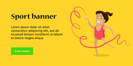 perform: Sport . Artistic gymnastics sport template. Summer games colorful . Competitions, achievements, best results. Athletes perform short routines on different apparatus. Illustration