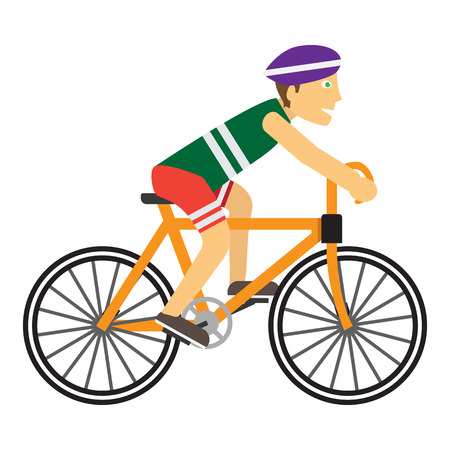 cycling helmet: Boy wearing protective helmet while riding a bike. Happy cartoon biker. Guy on the cute bicycle. Ecologically safe kind of transport. Healthy way of life and sport concept. illustration. Illustration