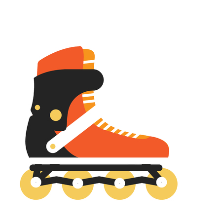 rollerblading: Inline roller skate . Sports and outdoor activities equipment flat illustration. For sport concepts, stores ad, icons or web design. Summer rollerblading. Isolated on white background