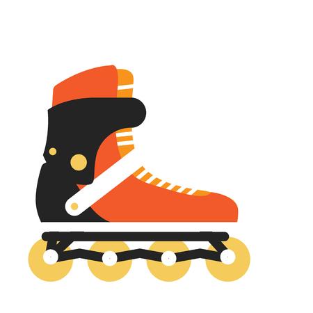 patín de ruedas en línea. Deportes y actividades al aire libre equipos plana ilustración. Para los conceptos de deporte, almacena anuncios, iconos o diseño web. patinaje en verano. Aislado en el fondo blanco Vectores