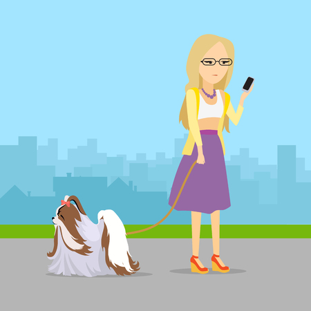 introverted: Phlegmatic temperament type girl walking with her adorable dog. Relaxed and peaceful lady having fun with pet. Thoughtful, calm, patient woman with phone in urban city. in flat style