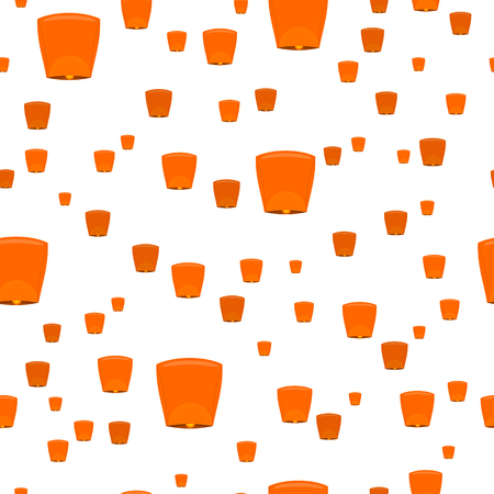 sky lantern: Seamless pattern with sky lanterns isolated on white. Orange Kongming lantern or Chinese lantern. Hot air balloon made of paper, with opening at bottom where small fire is suspended.  illustration