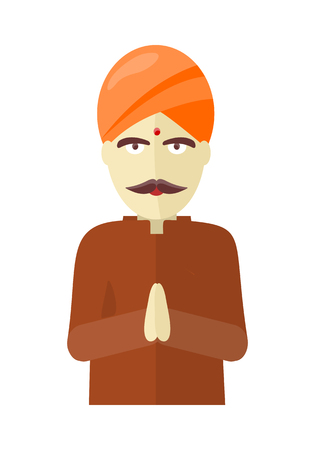 sadhu: Indian man isolated on white background. Indian sadhu with crossed hands in colorful turban and robes. Hindu sadhu monk meditating. Man from India in national yoga suit. illustration Illustration