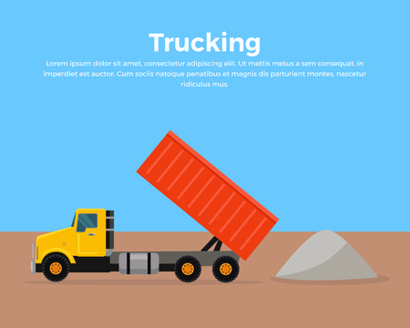 construction companies: Trucking . Cargo concept in flat style design. City building. Illustration for cargo companies and services advertising. Transportation of goods and materials by heavy construction tipper. Illustration