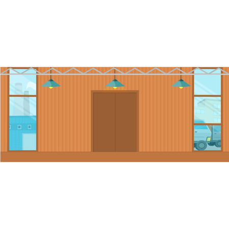 commercial real estate: Warehouse hangar buildings. Flat design. Empty storage room. Spacious storage for freight, parcels and goods. Rental and sale of commercial real estate. Distribution center. Supply chain part.