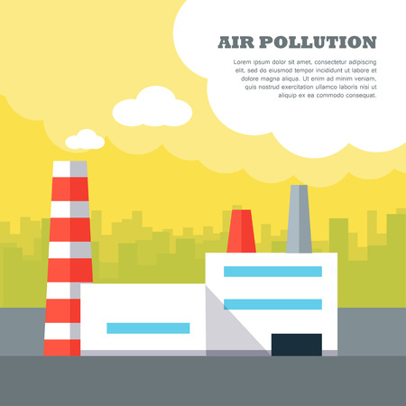 smoke stack: Air pollution concept . Flat design. City landscape with plant polluting air emissions. Urban smog. Human impact on the environment. Illustration for web design and infographics.