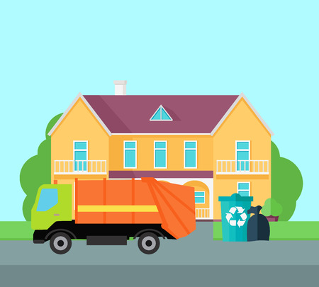 Cleaning garbage from the city streets illustration. Flat design. Garbage truck takes trash bags near beautiful house. Municipal utilities work illustrating. Waste sorting and recycling. Illustration