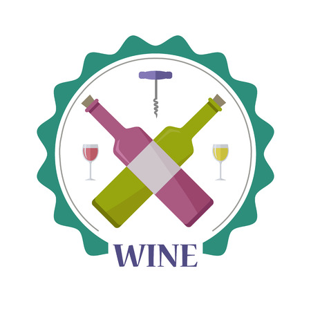 Wine advertisement poster. For labels, tags, tallies, posters, banners of check elite vintage wines. icon symbol. Winemaking concept. Part of series of viniculture production and preparation items. Ilustração