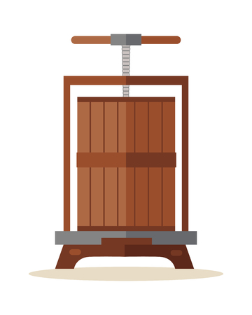 crushing: Traditional wooden press for grapes. Old wine press icon. Manual grape crushing machine. Old juice squeezer. Isolated object in flat design on white background. illustration.