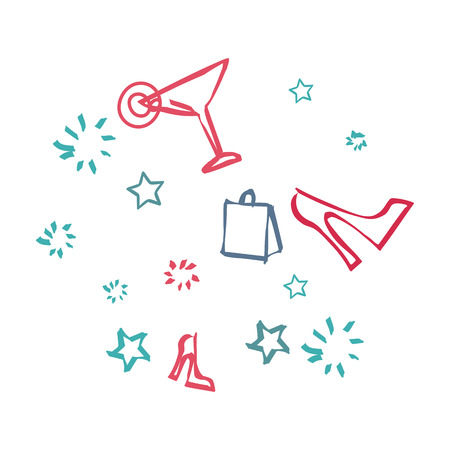 day dreaming: Background with icons symbolizing day off. Sign of bag, cocktail drink, shoe and stars. Dreaming about disco or a cool party. Thoughts to have a good rest in the nearest time. illustration Illustration