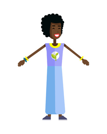 activist: Smiling woman with branch and leaves emblem on clothes, standing as part of human chain. Ecologist, environmentalist, nature protection activist or volunteer illustration. Flat design. Earth day.
