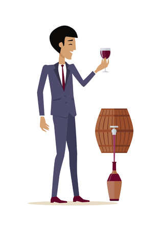 alcohol series: Man with wine in alcohol department store. Consumer tastes wine from wooden barrel. Choosing and buying a bottle of wine for tasting. Part of series of viniculture production and preparation.
