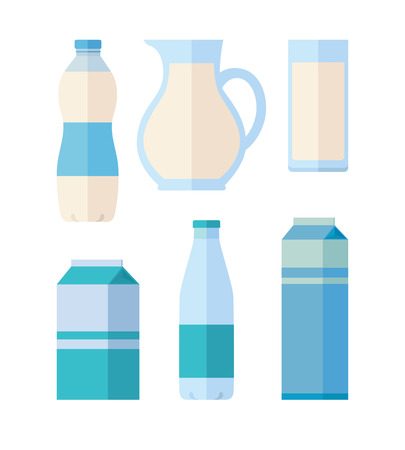 kefir: Different traditional dairy products from milk on white background. Packaged kefir, milk and yogurt. Assortment of dairy products. Farm food. Dairy icons set. Vector illustration in flat style.