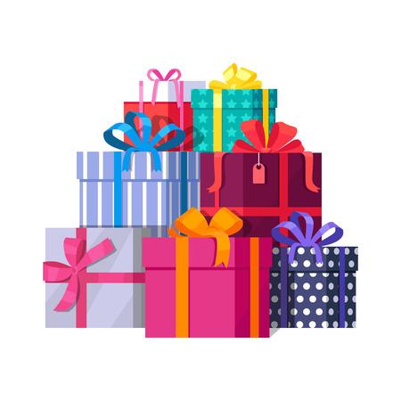 Grande mucchio di colorate scatole regalo avvolto. regali di montagna. Bella casella presente con l'arco schiacciante. Confezione regalo icona. simbolo regalo. Confezione regalo di Natale. Illustrazione vettoriale isolato Vettoriali