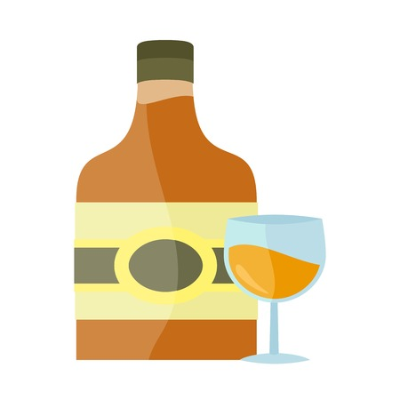 hangover: Bottle with alcohol vector in flat style. liqueur, brandy whiskey, cognac illustration for beverages concepts, grocery store advertising, icons, infograqphic element. Isolated on white background. Illustration