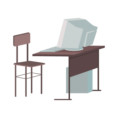 computer system: School desk with desktop computer in flat design. Classroom element. Desktop PC in classroom. Gray computer monitor with computer system unit. Working place with desktop computer. Vector illustration