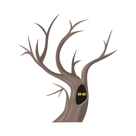 tree leaves: Isolated oak tree without leaves. Bare oak tree with hollow. Two eyes of an animal looking from hollow. Tree forest, leaf tree isolated, tree branch, plant eco branch tree. Autumn tree without leaves Illustration