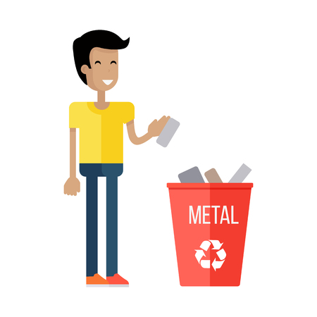 sorting out: Waste recycling concept. Boy in yellow t-shirt and blue pants taking out the trash in red recycle garbage bin with metal. Sorting process different types of waste. Environment protection. Illustration