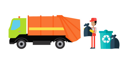 Utilities garbage removal vector concept illustration. Flat design. Garbage team worker with trash bag in hands standing near truck and trash containers. Cleaning city streets. Isolated on white.