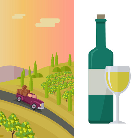 winemaking: Wine production banner. Bottle of wine, beaker, vineyard, wooden barrel, with grape valley on background. Creative advertisement poster for white wine. Part of series of viniculture preparation. Vector