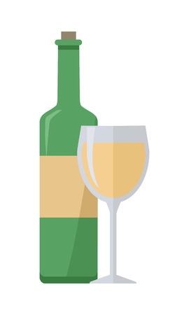 Bottle of white wine and glass isolated on white. Check elite vintage light wine. Winemaking concept. Vine icon or symbol. Part of series of viniculture production and preparation items. Vector