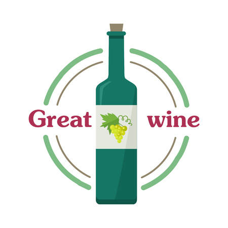Great wine botlle with white wine isolated. Check elite vintage light wine. Winemaking concept. Vine icon or symbol. Part of series of viniculture production and preparation items. Vector