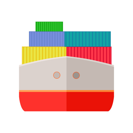 sea world: Ship worldwide warehouse delivering. Logistics container shipping and distribution. Transportation to any part of world. Delivering by water sea ocean. Loading and unloading boxes. Vector illustration