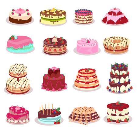 Set of decorated with colored frosting, fruits and chocolate cakes. Vector in flat style. Beautiful confectionery. Dessert. For pastry shop ad, birthday or wedding greeting cards design, diet concepts