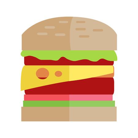 sauces: Hamburger vector illustration. Flat design. Classic sandwich with meat, cheese, tomatoes salad and sauces.   Fast food concept for cafe, snack bar, street restaurant ad, menu. Isolated on white.