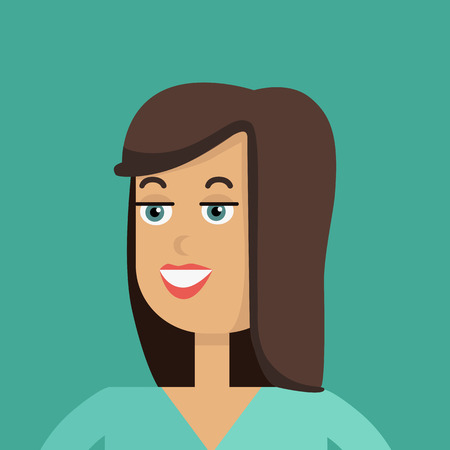 personage: Businesswoman avatar icon isolated on green background. Woman with brown hair. Smiling young girl personage. Flat design vector illustration