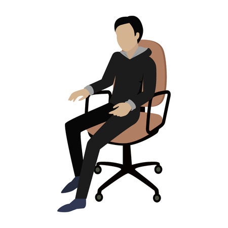 isoated: Man sitting on the chair and listening attentively to the speaker. Man at work. Endless work seven days a week. Working moments. Part of series of work at the office. Vector illustration