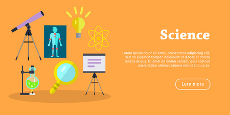 substances: Science banner. Scientific equipment, space, medicine physics and chemistry concept. Medicinal substances, preparations, devices, equipment elements. Laboratory researches. Vector in flat style