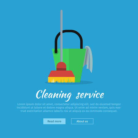 Cleaning service web banner. Bucket with duster and broom icon. Sign symbols of clean in the house. House washing equipment. Office and hotel cleaning. Housekeeping. Cleaning business concept. Vector Illustration