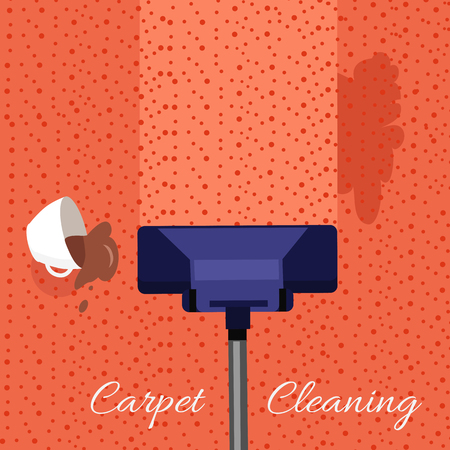 Carpet cleaning vector concept. Flat style. Vacuum cleaner cleans dirty carpet from dirt and stains from spilled coffee. Illustration for cleaning companies and services advertising, web page design