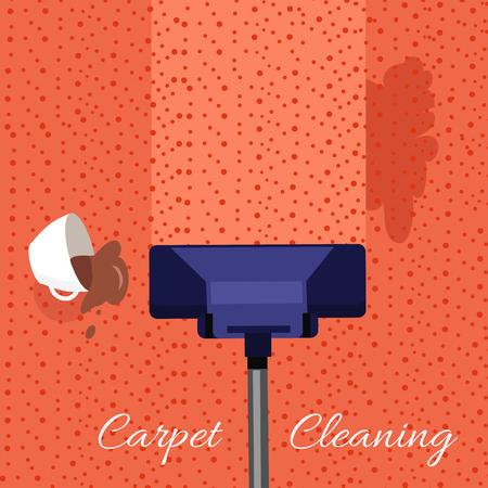 Nettoyage de moquettes concept de vecteur. le style plat. Aspirateur nettoie le tapis sale de la saleté et les taches de café renversé. Illustration pour les entreprises de nettoyage et de services de publicité, conception de page Web Banque d'images - 64620291