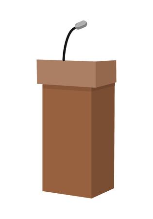 rostrum: Speaking tribune icon. Wooden podium, tribune, rostrum, stand with microphones in flat. Podium icon. Rostrum icon. Isolated vector illustration on white background.