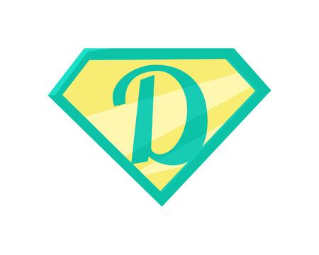 父亲的超级英雄的象征。超级爸爸图标。超级老爸盾平了。绿色黄色元素。简单的画。孤立的矢量插图上的白色背景。插图