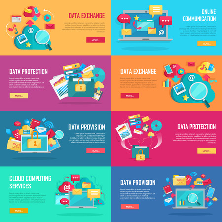 data recovery: Data services set. Data provision, data exchange, cloud computing services, data recovery service, data protection, data storage service banners. Networking and data icons on color background. Illustration