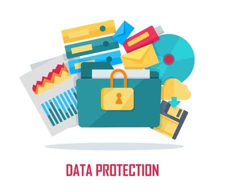 dir: Data protection banner. Blue folder lock icon on white background. File protection. Data security and privacy concept. Safe confidential information. Vector illustration in flat style.